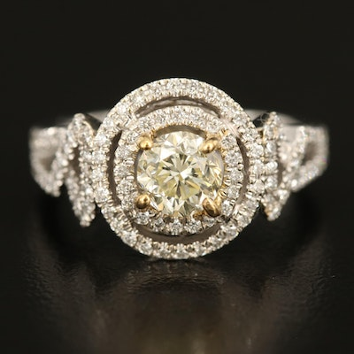 14K Ring with 1.01 CT Center and 0.68 CTW Surrounding Diamonds with GIA eReport