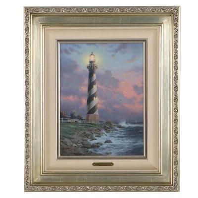 "Offset Lithograph After Thomas Kinkade ""Cape Hatteras Light"""