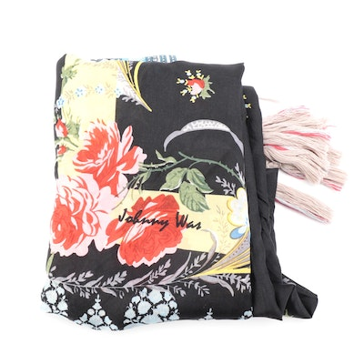 Johnny Was Silk Scarf in Navy Floral Print with Hand-Braided Tassel Fringe