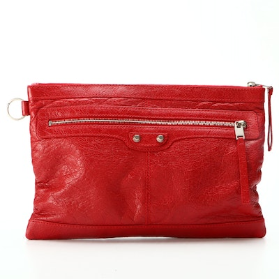 Balenciaga Classic City Zip Pouch in Red Agneau Leather
