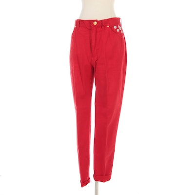 Escada Sport Jeans in Red with Daisy Embroidery