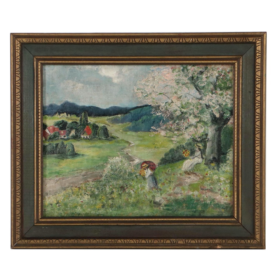 Country Landscape Oil Painting, Mid to Late 20th Century