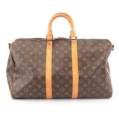 Louis Vuitton Keepall 45 Bandouliere Duffle Bag in Monogram Canvas and Leather