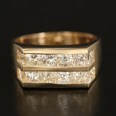 14K 3.10 CTW Diamond Double Channel Ring