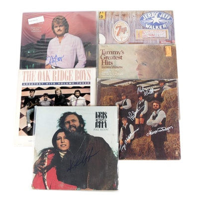 Kenny Rogers, Tammy Wynette, Ricky Skaggs and Other Signed Vinyl Country Records