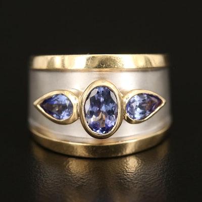 14K Two-Tone Gold 1.80 CTW Bezel Set Tanzanite Ring