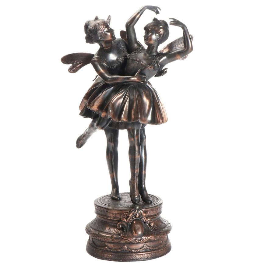 Bronze Dancing Ballerina Fairies Statue