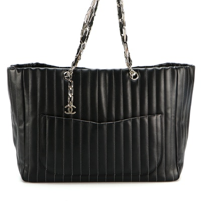 Chanel Mademoiselle Tote Bag in Black Vertical Quilted Lambskin Leather