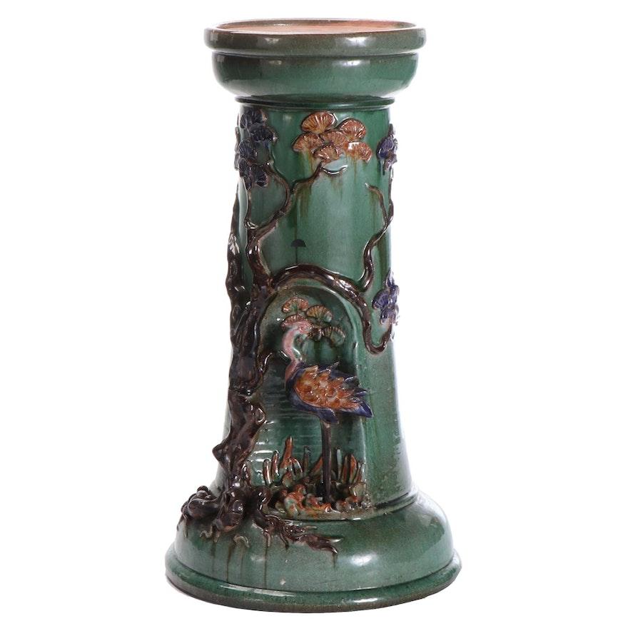 Chinoiserie Majolica Ceramic Jardinière Pedestal with Applied Foliate and Crane