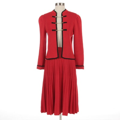 St. John Santana Red Knit Skirt Suit with Black Trim and Includes Sweater Clips