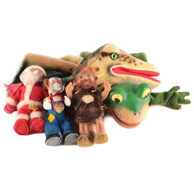 Steiff Alligator and Frog Hand Puppets with Other Steiff Figurines