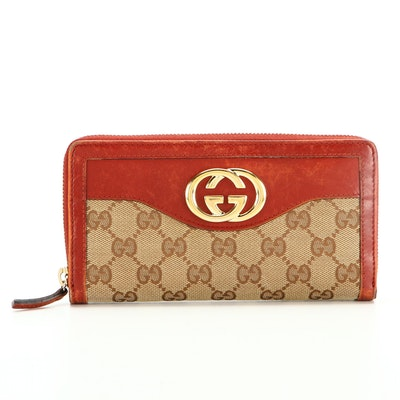 Gucci Sukey Zip-Around Wallet in GG Canvas and Red Leather