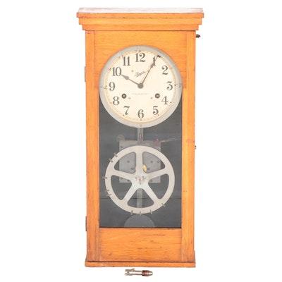 Simplex Time Recorder Co. Oak School Master Clock