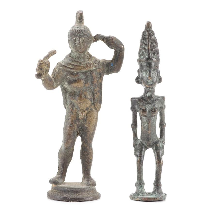 Nias Style Bronze Ancestor Figurine with Roman Style Metal Figurine