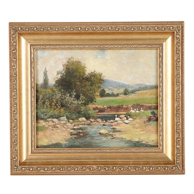 Continental Landscape Oil Painting, 1927