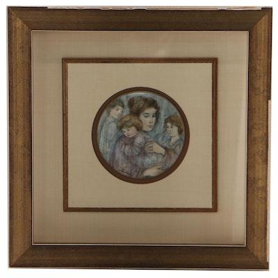 """Edna Hibel for Kaiser Porcelain Miniature """"Joanna and Children,"""" 1981"""