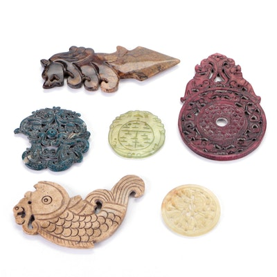 Chinese Carved Serpentine and Other Stone Amulets and Figural Pendants