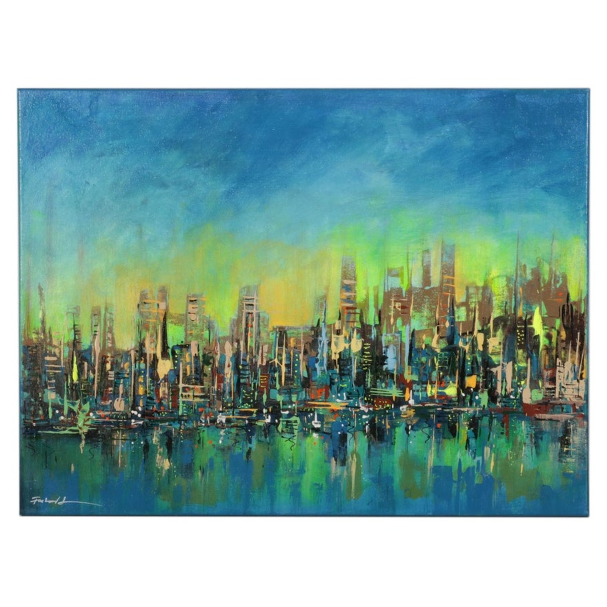 Farshad Lanjani Abstract Cityscape Acrylic Painting, 21st Century