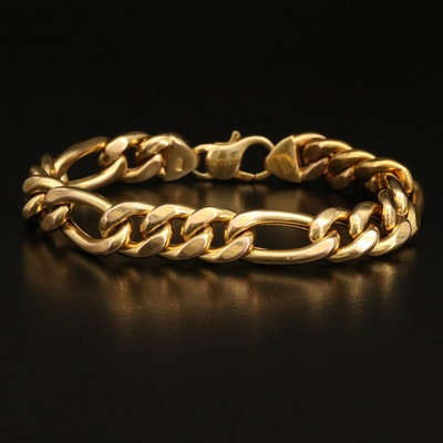 Italian 14K Figaro Chain Bracelet