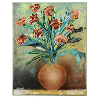 Farshad Lanjani Floral Still Life Oil Painting, 21st Century