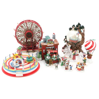 """Department 56 """"Carnival"""" and """"North Pole Woods"""" Table Village Pieces"""
