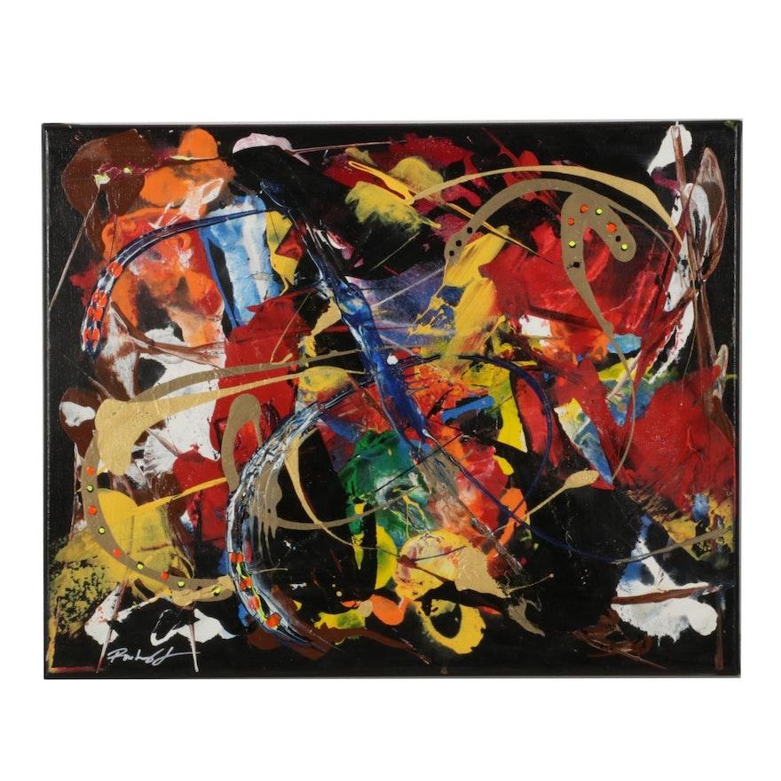 Farshad Lanjani Abstract Mixed Media Painting, 21st Century