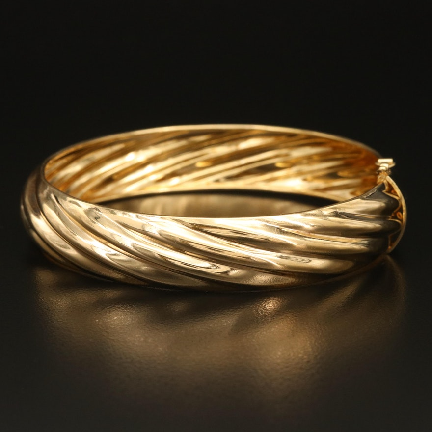 Italian Sterling Fluted Hinged Bangle