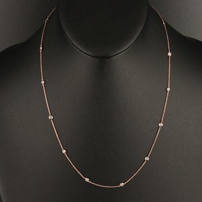 14K Rose Gold 0.60 CTW Bezel Set Diamond Station Necklace