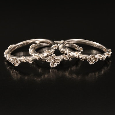 Sterling Diamond Butterfly and Flower Stacking Rings