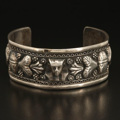 Egyptian Revival Sterling Silver Cuff