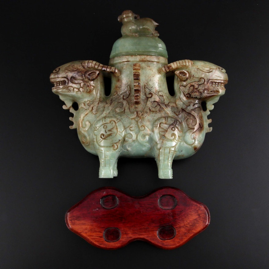 Chinese Doubled-Headed Ram Carved Serpentine Covered Vase