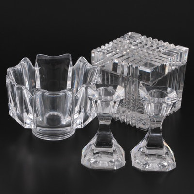 """Orrefors """"Corona"""" Crystal Bowl with Other Crystal Candlesticks and Lidded Box"""