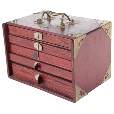 Mahjong Game Set with Bone and Bamboo Tiles in Brass Mounted Wood Case