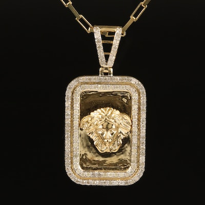 10K 1.00 CTW Diamond Pendant Necklace with Modeled Woman's Head