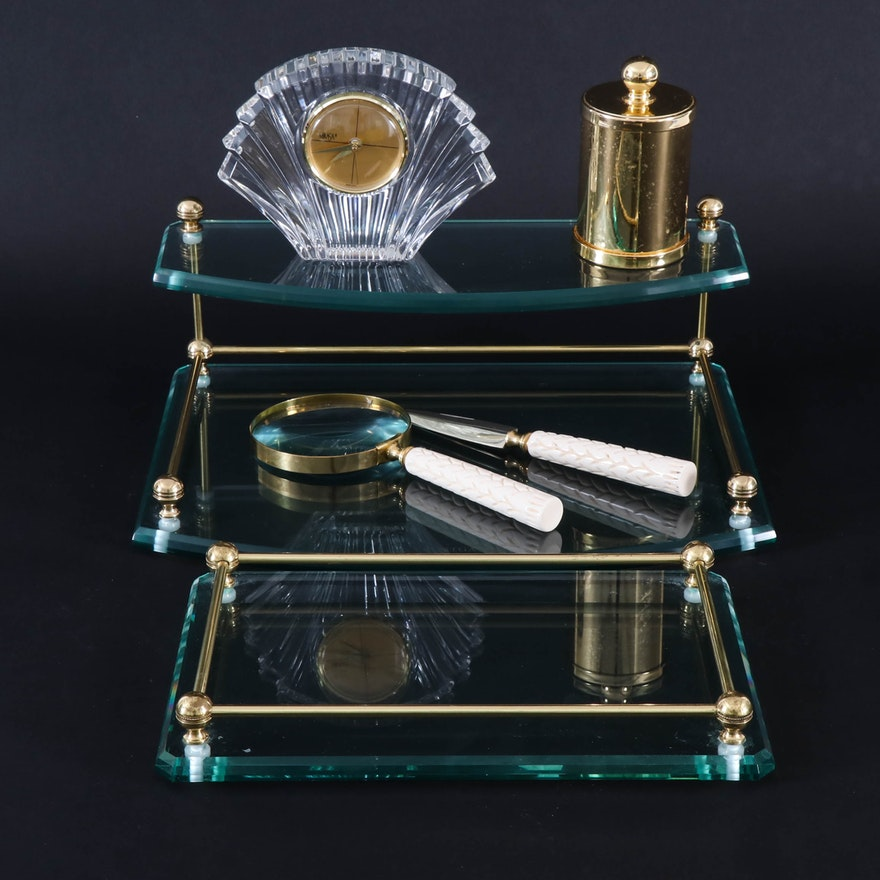 Frontgate Glass and Brass Trays and Other Office Accessories
