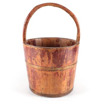 Primitive Wood Slat Bucket with Brass Banding, Antique