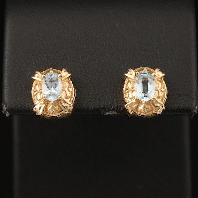 14K Aquamarine Earrings