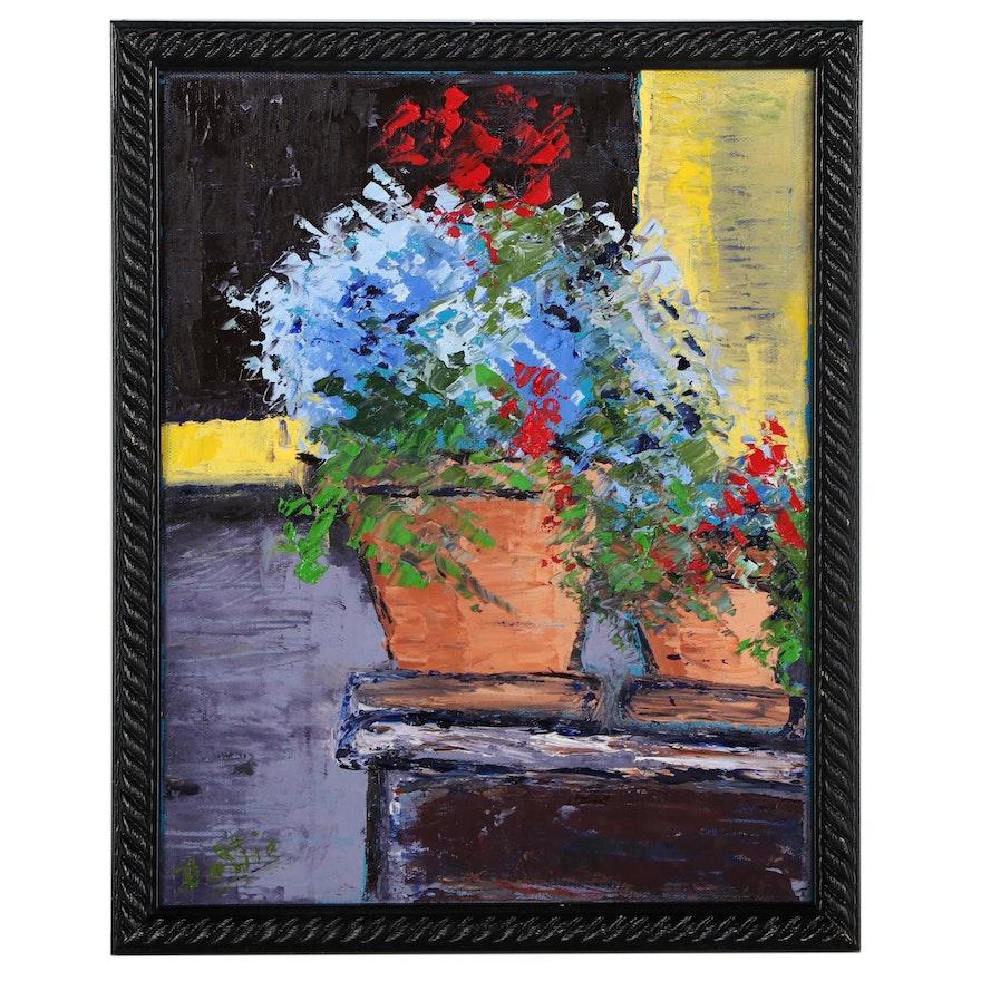 Dottie Abramowski Oil Painting of Flower Pots