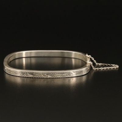 Sterling Silver Engraved Hinged Bangle