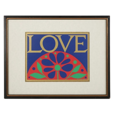 """Serigraph After Richard Roberts """"Love,"""" Mid to Late 20th Century"""