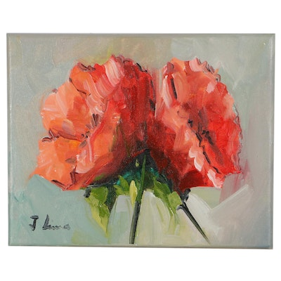 Jose M. Lima Floral Still Life Oil Painting, 2021