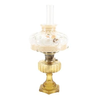 Aladdin Model B Yellow Pressed Glass Oil Lamp with Milk Glass Shade