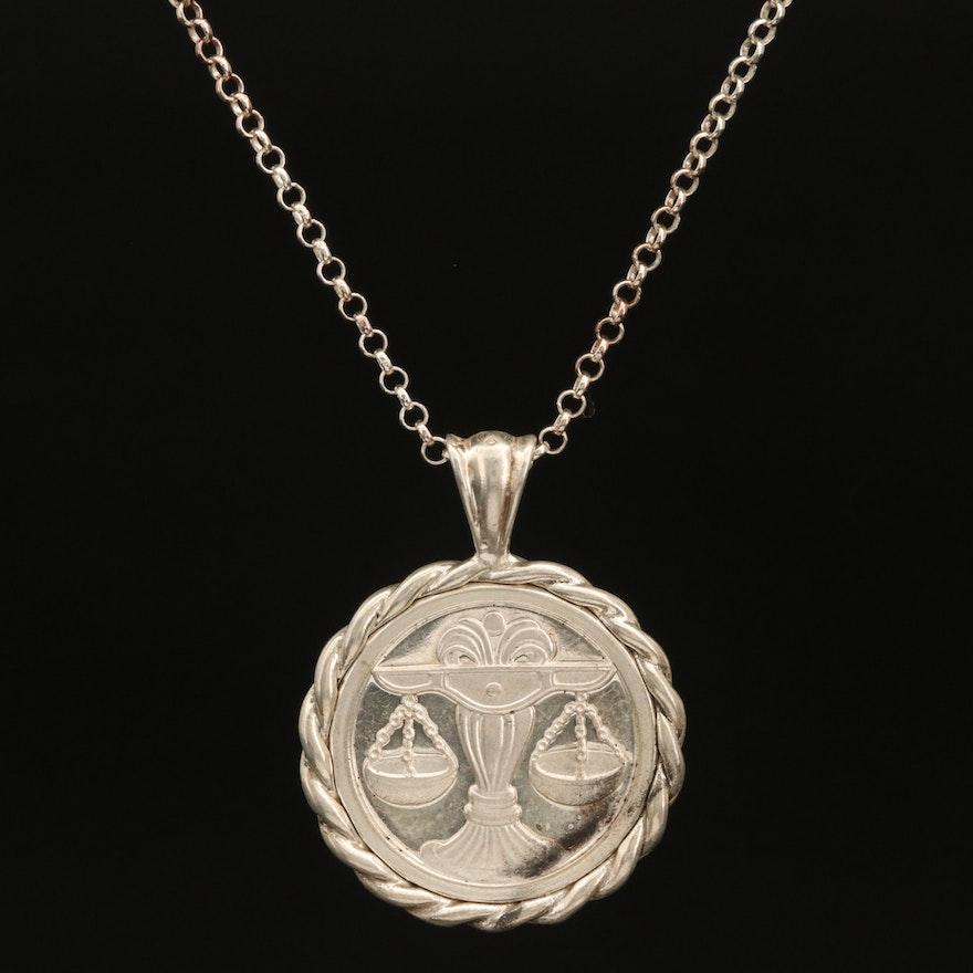 Sterling Silver Libra Pendant Necklace