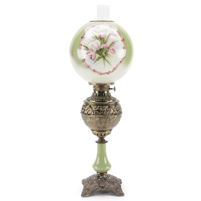 Bradley & Hubbard Converted Brass and Hand-Painted Glass Parlor Lamp