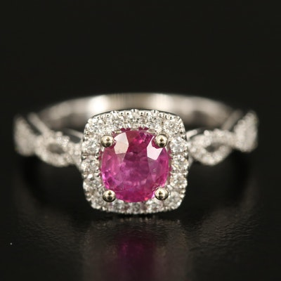14K Unheated 1.06 CT Ruby Ring with Diamond Lined Shoulders and Halo