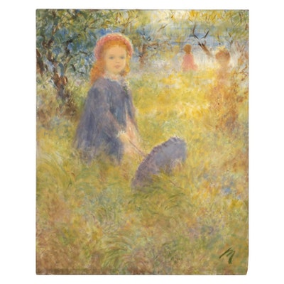 Harry Myers Oil Painting of Young Girl Holding Parasol, Mid-Late 20th Century