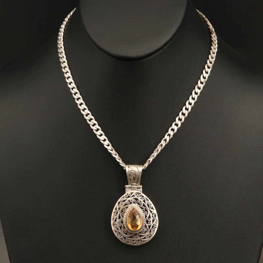 Sterling Silver Citrine Curb Chain Necklace