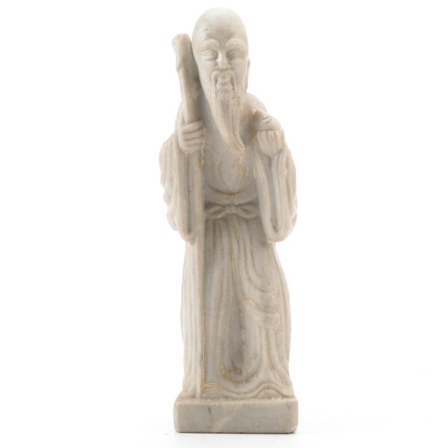 Chinese Carved Marble Shouxing Figurine