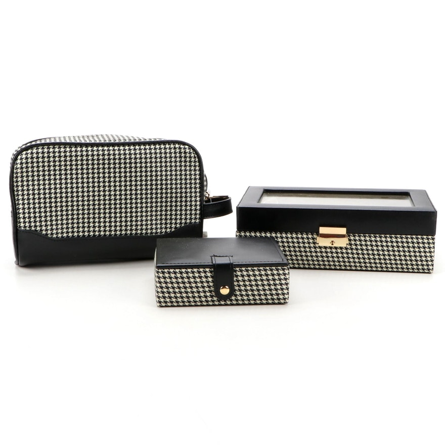 Collectives Houndstooth Jewelry Boxes and Travel Bag