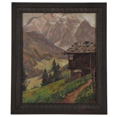 Peter Haller Alpine Landscape Oil Painting, Mid-20th Century